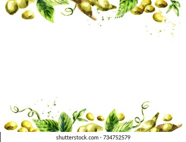 Organic Soybean template. Watercolor hand drawn background