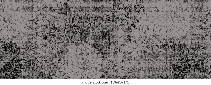 organic textures effect nature floral  monographic colored fabric tartan Grunge Graphic Motif. simple and elegance  Pattern printed design for all texture surface designed