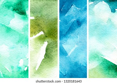 Organic watercolor background in abstract style. Natural beauty. Abstract springtime background. Abstract art pattern. Green texture set. Watercolor effect. Ink marble texture.