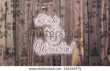 Organic Wooden Frohe Weihnachten German Merry Stock Illustration ...