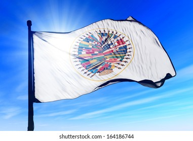 Organization of American States flag waving on the wind