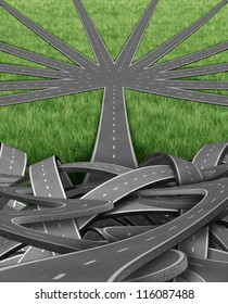 Organization and management with a group of tangled confused roads and highways and a single street emerging into an organized order of paths as a well managed strategic journey for business success.