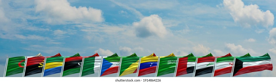Organization of the Petroleum Exporting Countries. OPEC flags waving with texture background- 3D illustration - 3D render