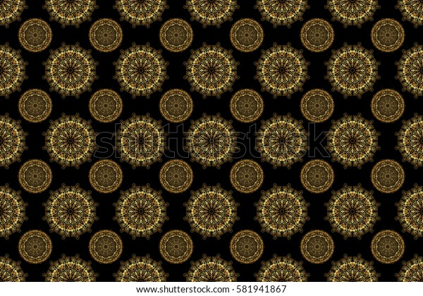 Orient background with golden repeating elements. Damask raster classic golden pattern. Seamless abstract elements in golden colors on black background.