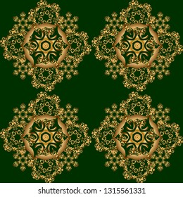Orient textile print for bed linen, jacket, package design, fabric and fashion concepts. Golden grid seamless pattern with abstract flowers and stars on a green background.