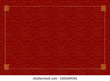 Oriental Background Template, Seamless Geometric Red Pattern and Golden Frame, Blank Template.