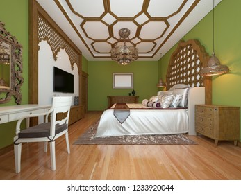 Oriental bedroom in Arab style, with a wooden headboard and green walls. TV unit, dressing table, armchair with coffee table. 3D rendering.