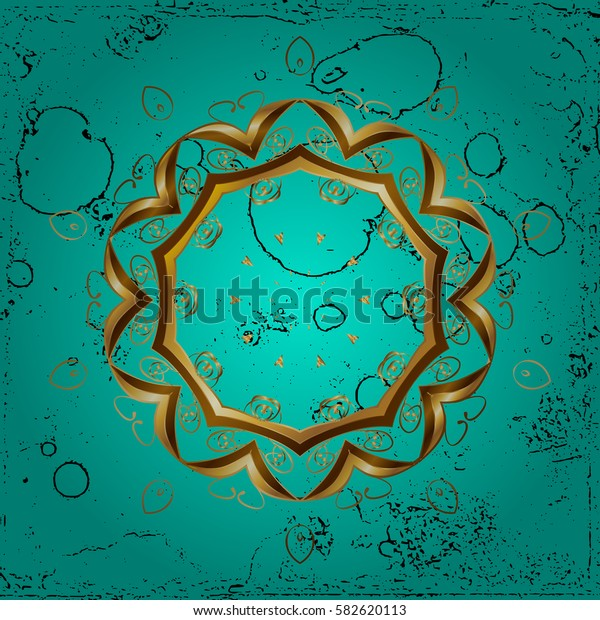 Oriental classic blue and golden pattern. Abstract background.