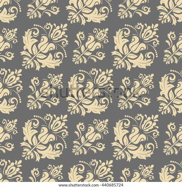 Oriental classic ornament. Seamless abstract background. Wallpaper with diagonal golden patterns