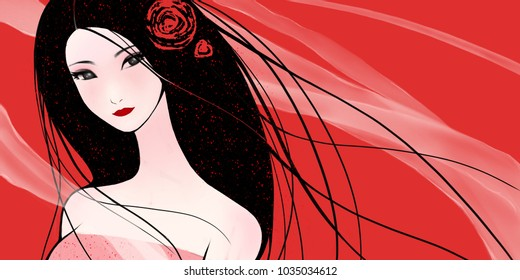 Oriental classical long-haired beauty aesthetic hand-painted decorative illustration