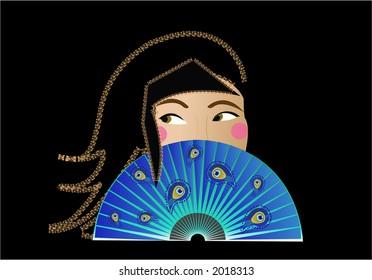 Oriental female with decorative fan