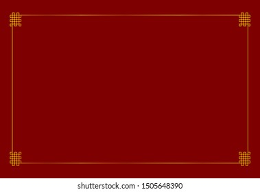 Oriental Golden Frame, Blank Background Template, Bright Gold Colorful Border with Endless Nodes Corners on Dark Red Background.