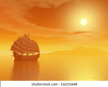 Oriental junk alone in the sea far from an island by sunset