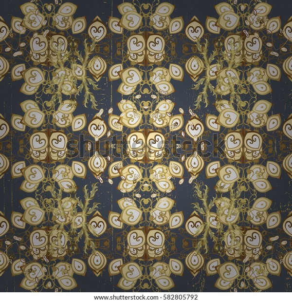 Oriental ornament. Golden pattern on gray background with golden elements. Golden pattern.