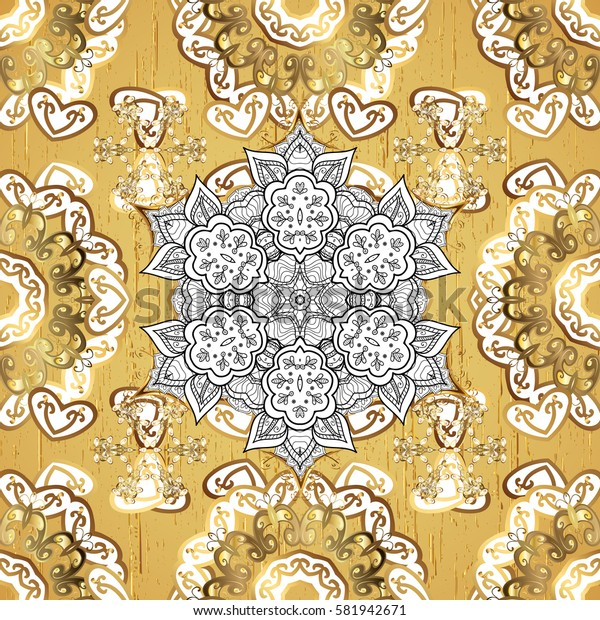 Oriental ornament. On yellow background with golden elements. Golden pattern.