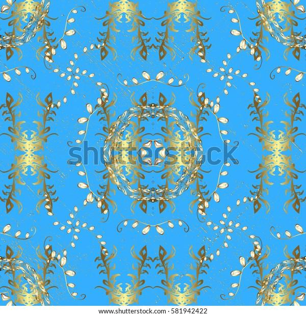 Oriental ornament. Pattern on blue background with golden elements. Golden pattern.