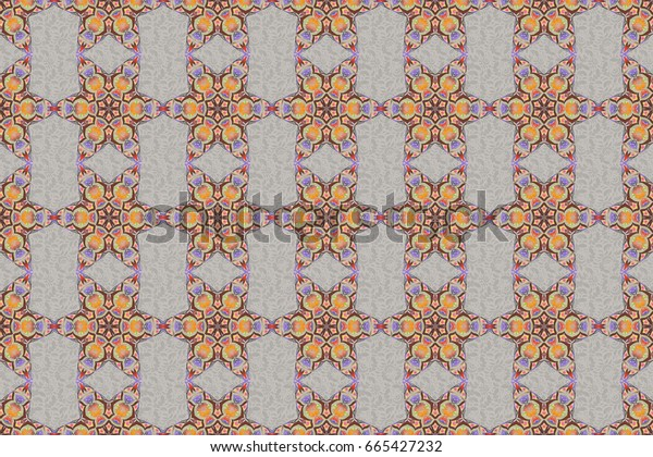 Oriental ornament seamless pattern. Islamic raster mulicolored design. Motley tiles with floral motif. Yellow, orange and gray vintage textile print.