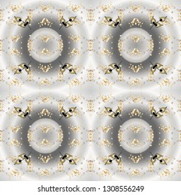 Oriental ornament. Seamless pattern on gray and neutral colors with golden elements. Seamless golden pattern.