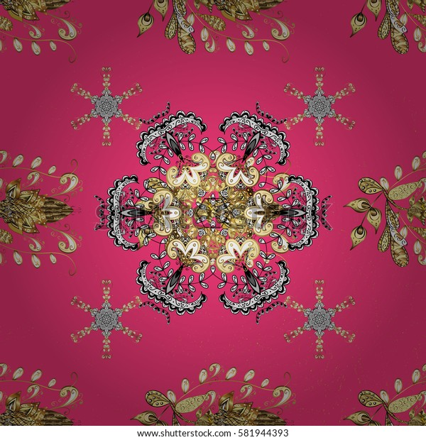 Oriental ornament in the style of baroque. Traditional classic golden pattern on pink background with golden elements.