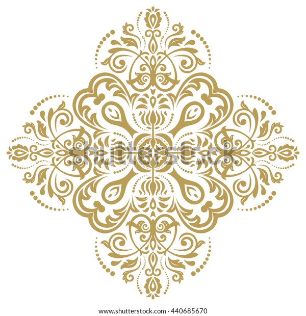 Oriental pattern with arabesques and floral elements. Traditional classic ornament