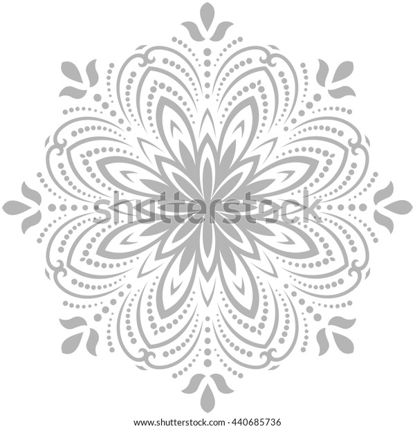 Oriental pattern with arabesques and floral elements. Traditional classicround light gray ornament