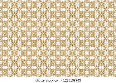 Oriental raster classic pattern. Abstract seamless pattern with golden repeating elements on white background. Vintage white and golden pattern.