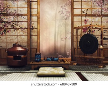 Oriental room with a tea set and window facing a forest. 3D illustration