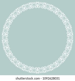 Oriental round white frame with arabesques and floral elements. Floral border with vintage pattern. Greeting card with place for text