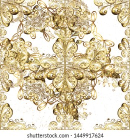 Oriental style arabesques. Pattern on white and beige colors with golden elements. Brilliant lace, stylized flowers, paisley. Golden texture curls. Openwork delicate golden pattern.