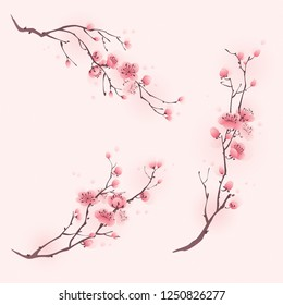 Oriental style painting, cherry blossom in spring.