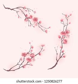 Фотообои Oriental style painting, cherry blossom in spring.