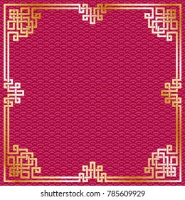 Oriental vintage gold frame on red pattern background for chinese new year celebration card