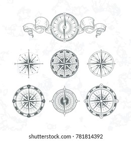 Orientation antique compas in vintage style. monochrome illustrations. Set of compas with wind rose