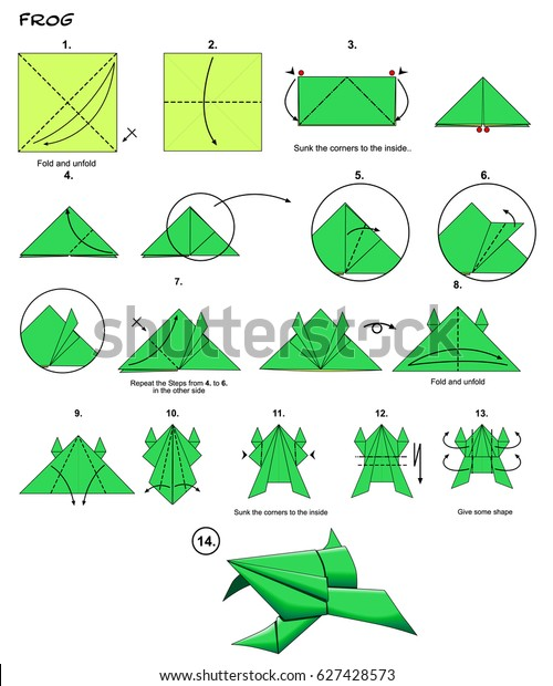 Origami Animal Traditional Frog Diagram Instructions ... on