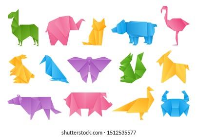 Origami animals. Paper toys, dragon ship elephant crane butterfly shape set, colored folding paper animals set