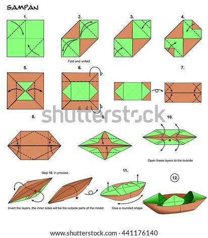 origami boat instructions steps stock illustration 441176140