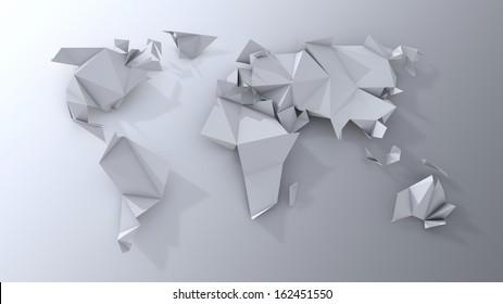 Origami continents scrapbooking.