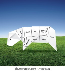 origami cow on grass field with meat specification