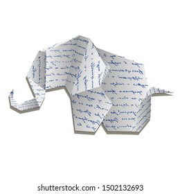 Origami elephant isolated on white photo-realistic vector illustration. elephant origami paper.Transparent objects used for shadows and lights drawing