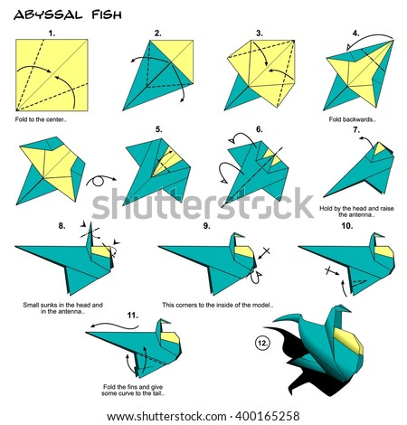 Origami Fish Instructions Steps Stock Illustration 400165258