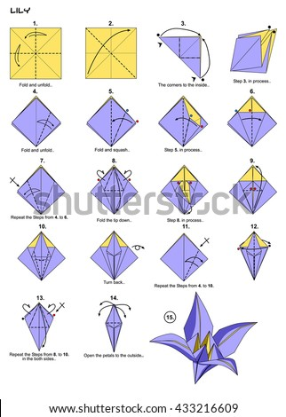 royalty free stock illustration of origami flower lily instructions rh shutterstock com origami flowers diagrams origami sakura flower diagram