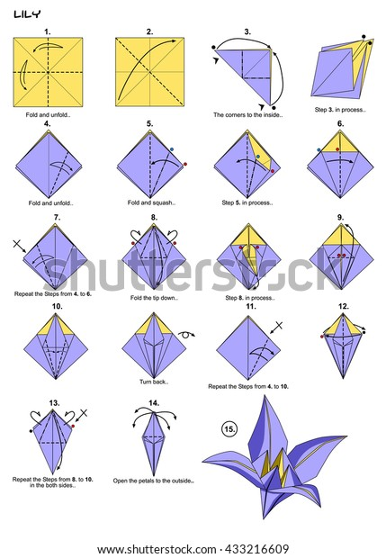Origami Flower Lily Instructions Steps Stock Illustration ... on