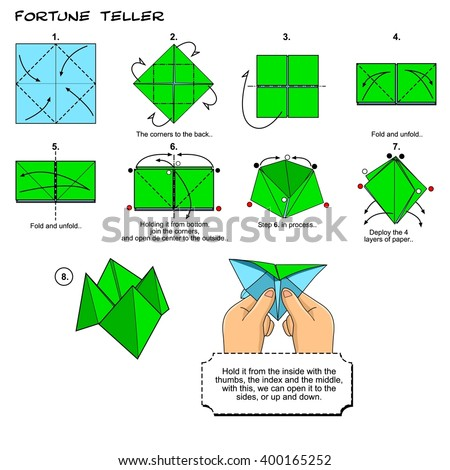Origami Fortune Teller Instructions Steps Stock Illustration