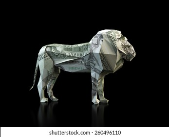 Origami lion made out of a 100 dollar bill