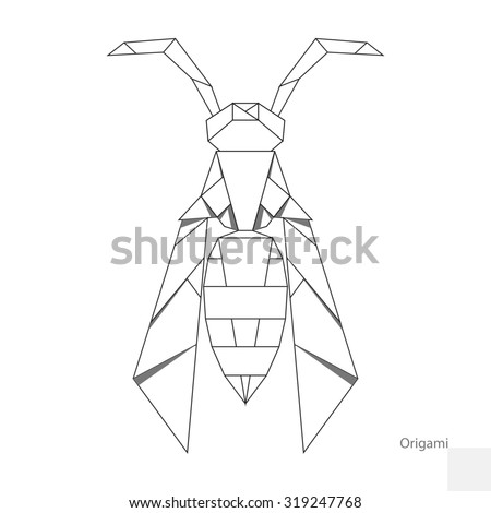 Origami Paper Wasp Raster Version Stock Illustration 319247768