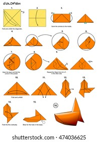 Origami Sea Animal Fish Goldfish Diagram Instructions Steps