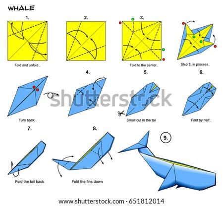 Origami Sea Ocean Animal Traditional Whale Stock Illustration