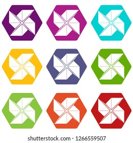 Origami shuriken icons 9 set coloful isolated on white for web