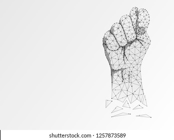 Origami Sign language T letter, Russian Sing Dulya Figa Shish Kukish gesture. Polygonal space low poly style. Deaf people silent communication. Connection wireframe. Raster on white background