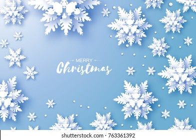 Origami Snowfall. Merry Christmas Greetings card. White Paper cut snow flake. Happy New Year. Winter snowflakes background. Space for text. Holidays. Blue background.  illustration.